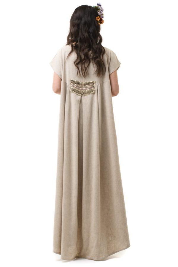 Λινό Φόρεμα Μακρύ με Ουρά