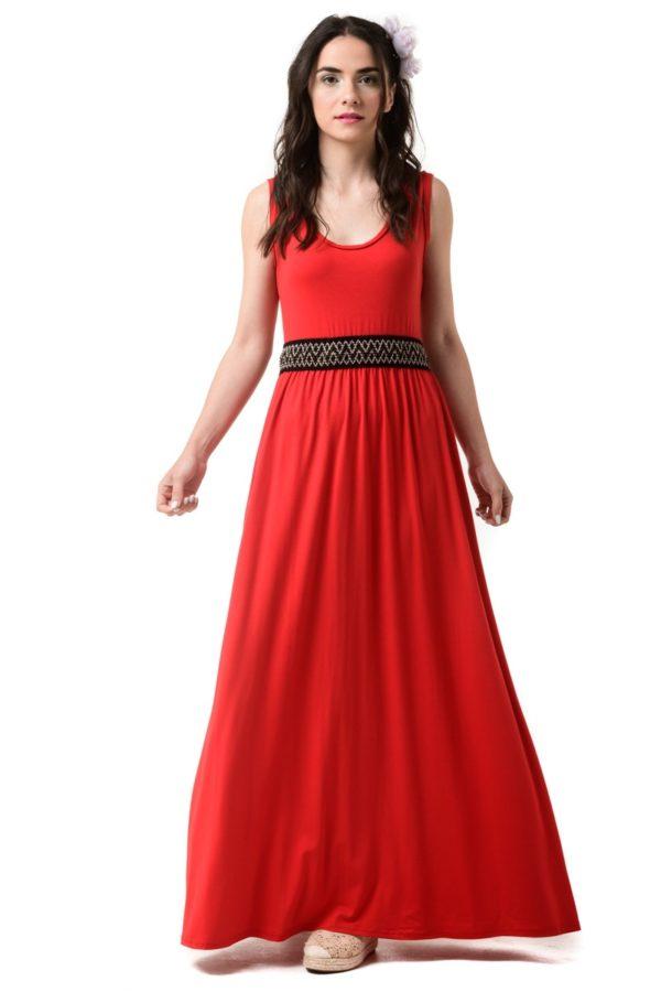 Κόκκινο Μάξι Φόρεμα Με Ελαστική Ζώνη