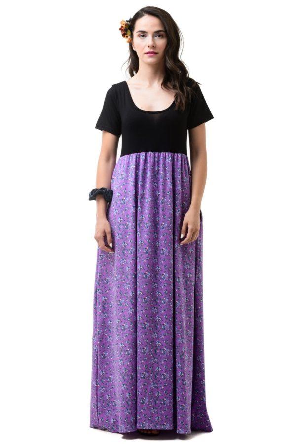 Μακρύ Φλοράλ Φόρεμα Με Μαύρο Μπούστο