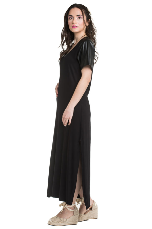 Μαύρο Μακρύ Φόρεμα με Ανοίγματα στο Πλάι
