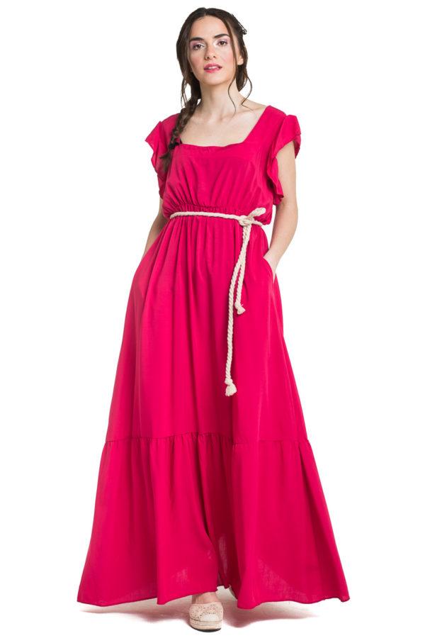 Φούξια Μακρύ Φόρεμα με Βολάν