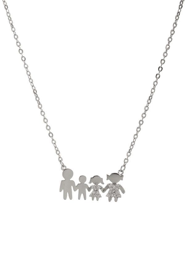 Κοντό Κολιέ Οικογένεια με Αγόρι & Κορίτσι Στρας Ασημί