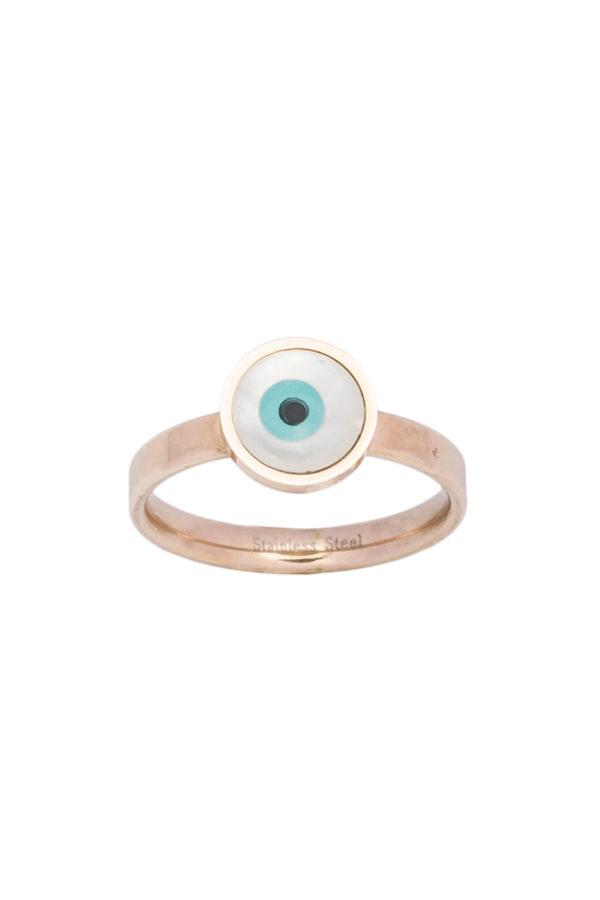 Δαχτυλίδι Μικρό Ματάκι Ροζ Χρυσό