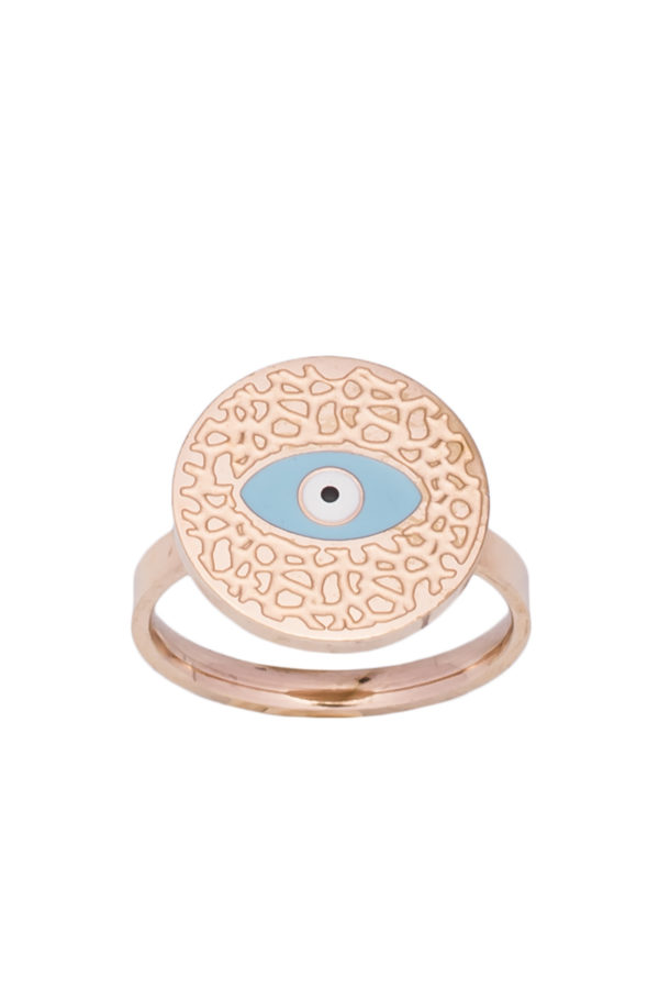 Δαχτυλίδι Ανάγλυφο Ματάκι Ροζ Χρυσό