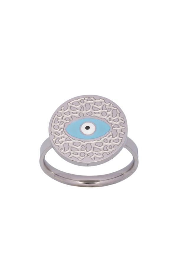 Δαχτυλίδι Ανάγλυφο Ματάκι Ασημί