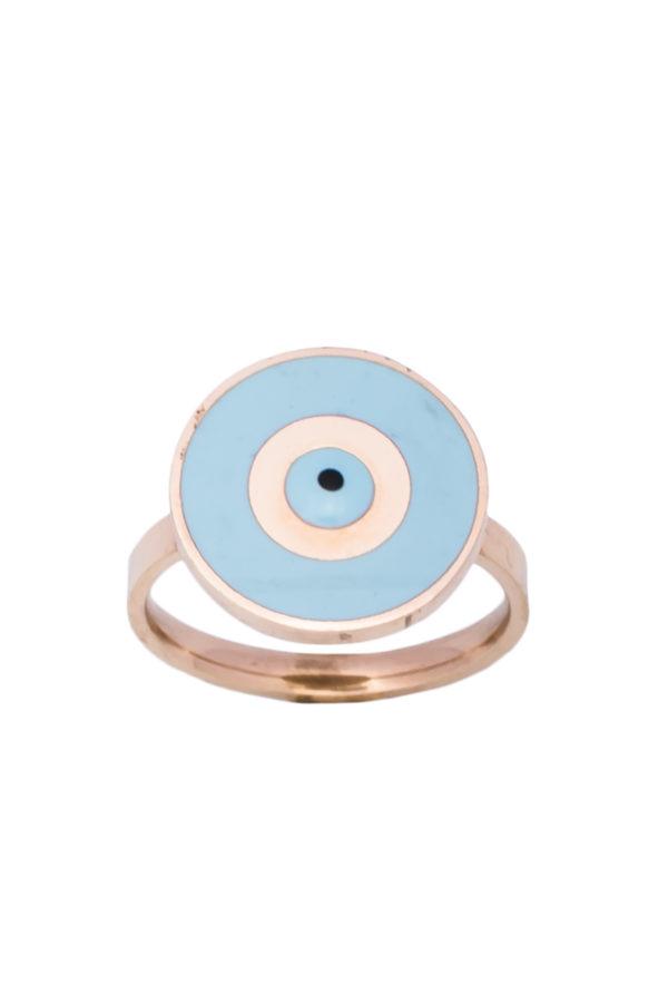 Δαχτυλίδι Στρογγυλό Γαλάζιο Ματάκι Ροζ Χρυσό