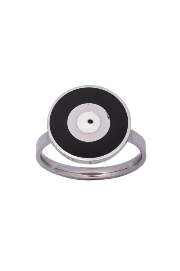 Δαχτυλίδι Στρογγυλό Μαύρο Ματάκι Ασημί