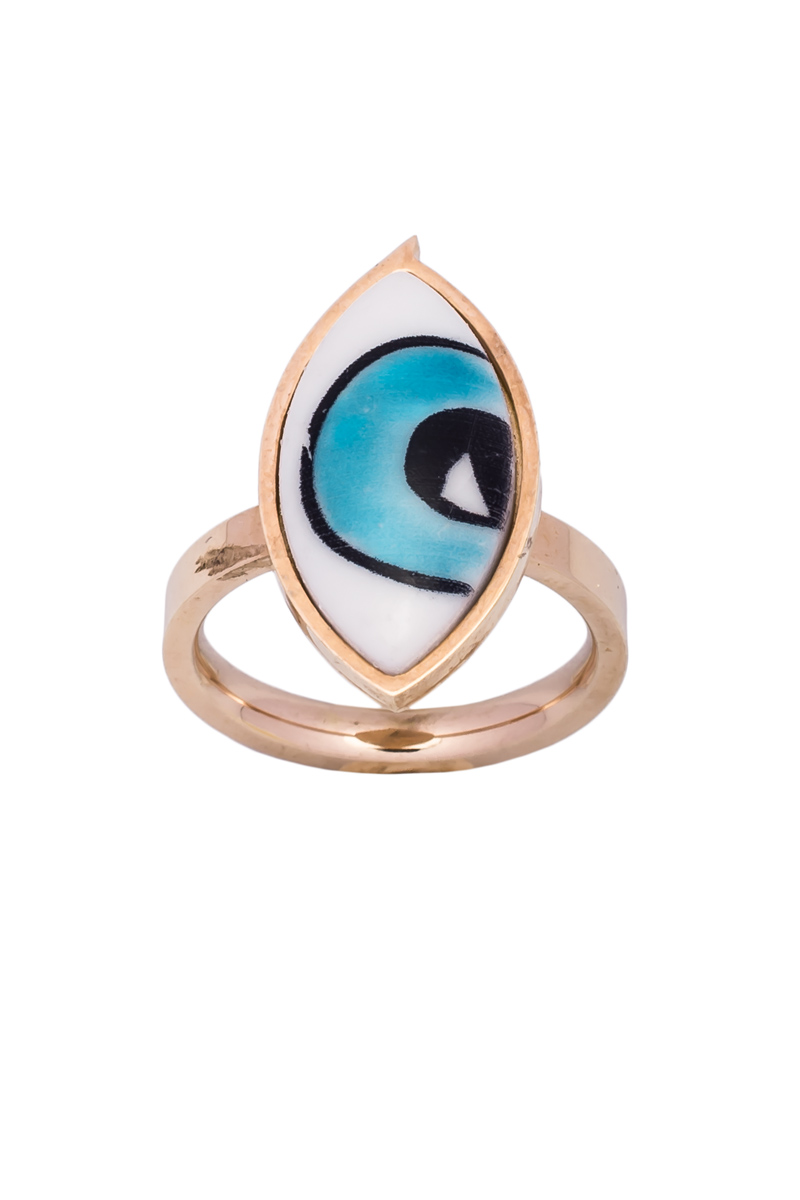 Δαχτυλίδι Μεγάλο Ματάκι Ροζ Χρυσό