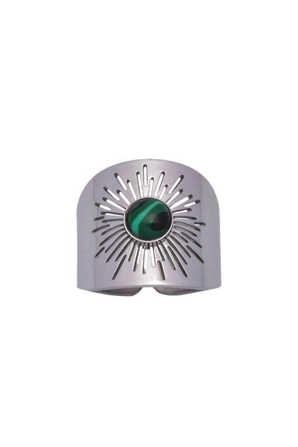 Φαρδύ Δαχτυλίδι Ήλιος με Πράσινη Πέτρα