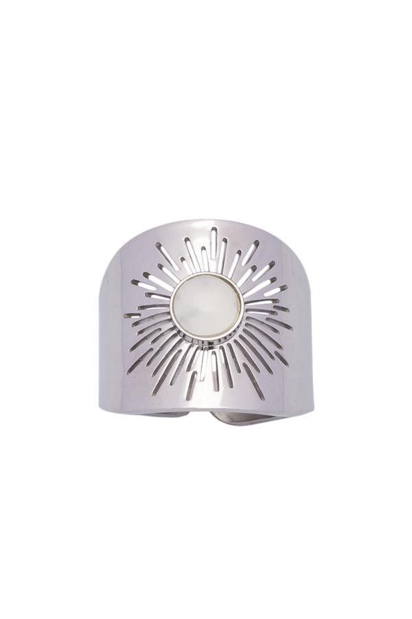 Φαρδύ Δαχτυλίδι Ήλιος με Άσπρη Πέτρα