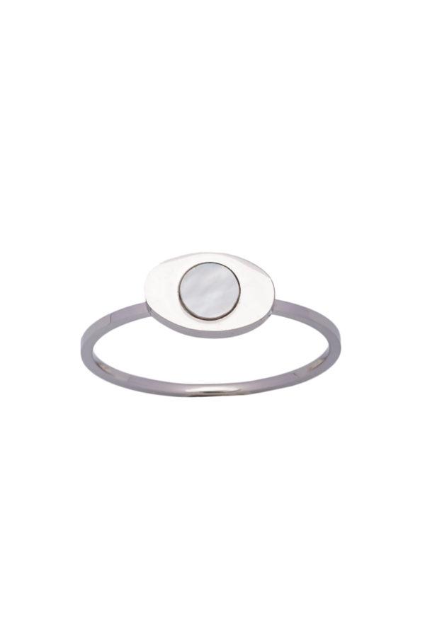 Δαχτυλίδι Μικρό Οβάλ Ασημί
