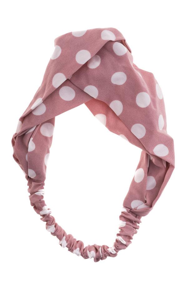 Ροζ Κορδέλα Μαλλιών Τουρμπάνι Πουά