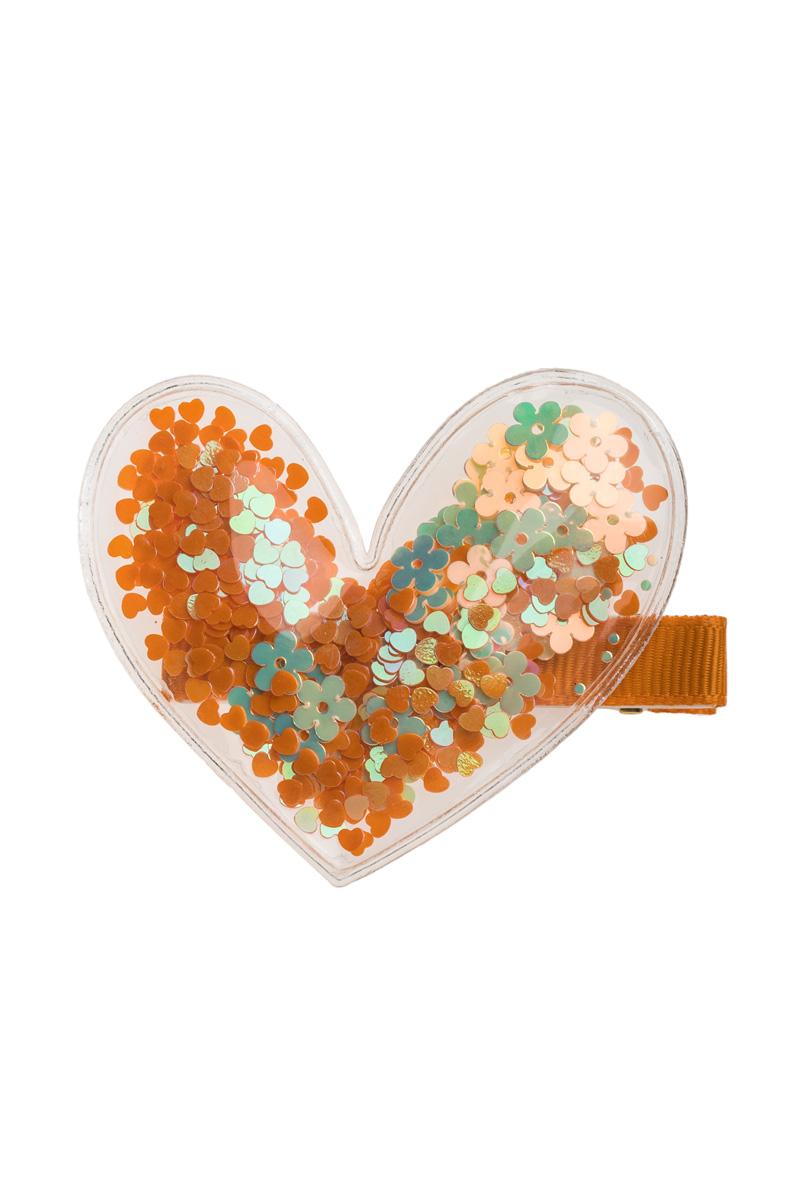 Τσιμπιδάκι Μαλλιών Διάφανη Καρδιά Πορτοκαλί