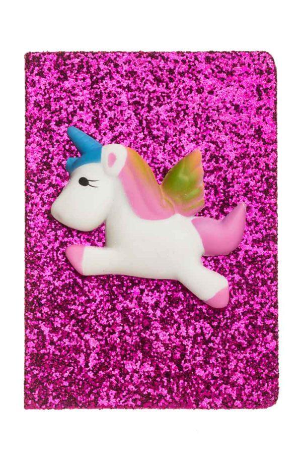 Τετράδιο Σημειώσεων με Glitter Φούξια Unicorn