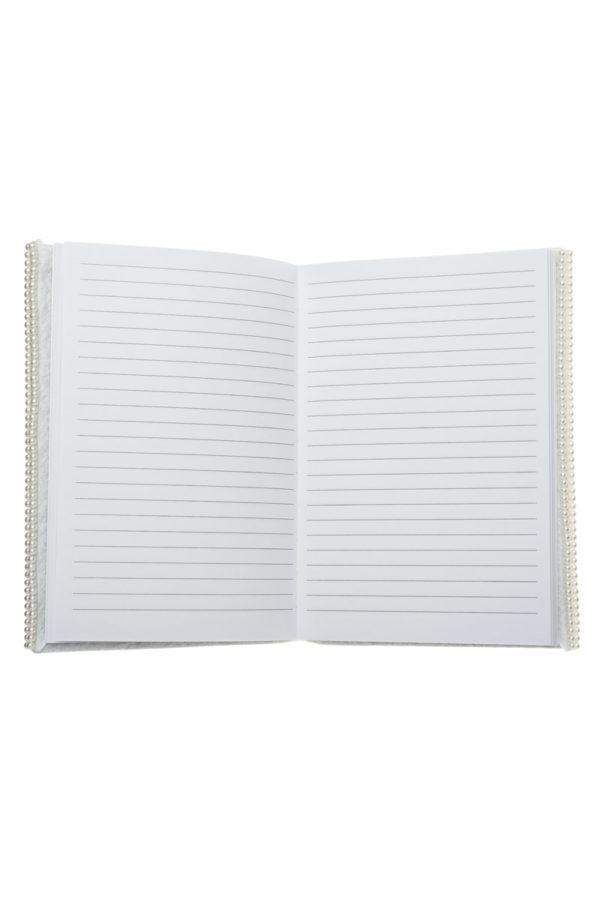 Τετράδιο Σημειώσεων με Πέρλες Άσπρο