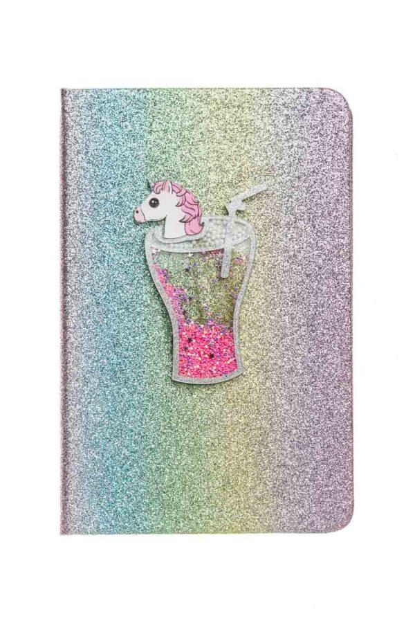 Planner Ατζέντα με Glitter Rainbow Μονόκερος σε Ποτήρι