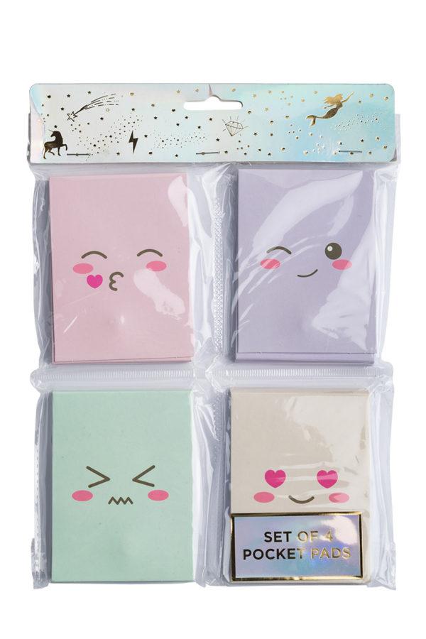 Set of 4 Mini Τετράδια Σημειώσεων Παστέλ Emoticons