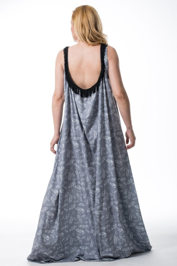 Lovender Φόρεμα Αέρινο Εξώπλατο Φτερά Γκρι
