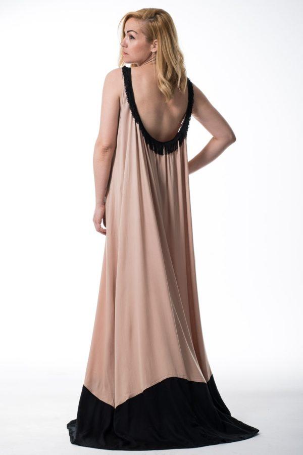 Lovender Φόρεμα Αέρινο Εξώπλατο Μπεζ με Μαύρη Φάσα