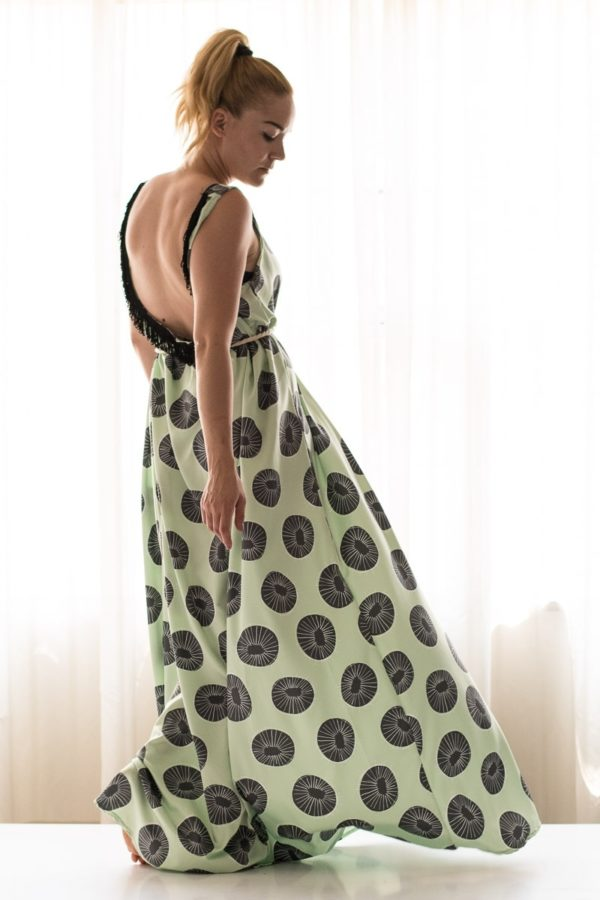 Lovender Φόρεμα Αέρινο Εξώπλατο Πράσινοι Κύκλοι