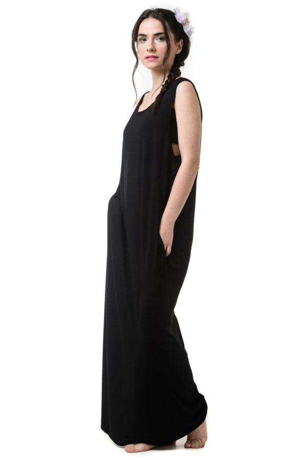 Μαύρο Φόρεμα Μακρύ Με Τσέπες & Ανοιχτή Πλάτη