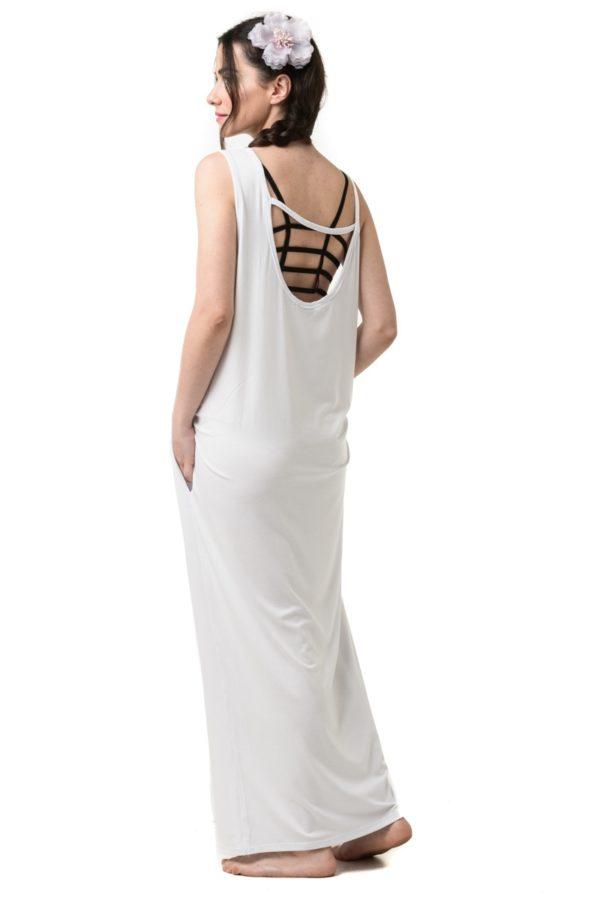Άσπρο Φόρεμα Μακρύ Με Τσέπες & Ανοιχτή Πλάτη