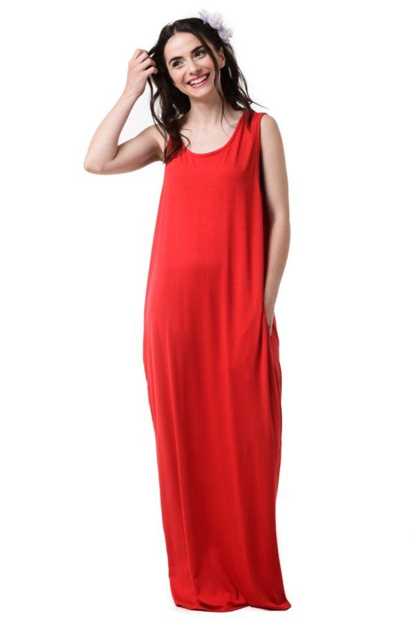 Κόκκινο Φόρεμα Μακρύ Με Τσέπες & Ανοιχτή Πλάτη