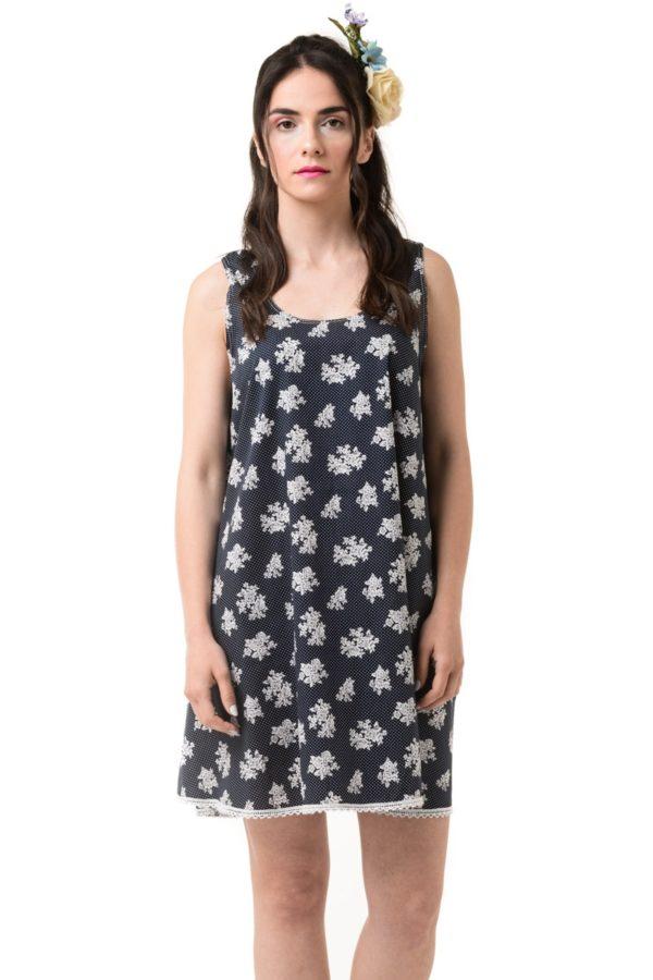 Μπλε Φλοράλ Φόρεμα Κοντό Καμπάνα