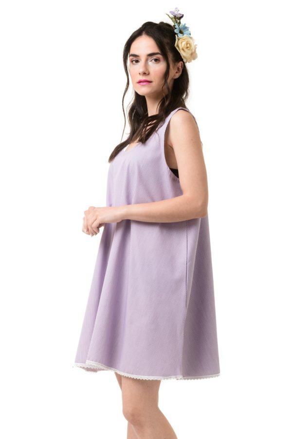 Μοβ Ριγέ Φόρεμα Κοντό Καμπάνα