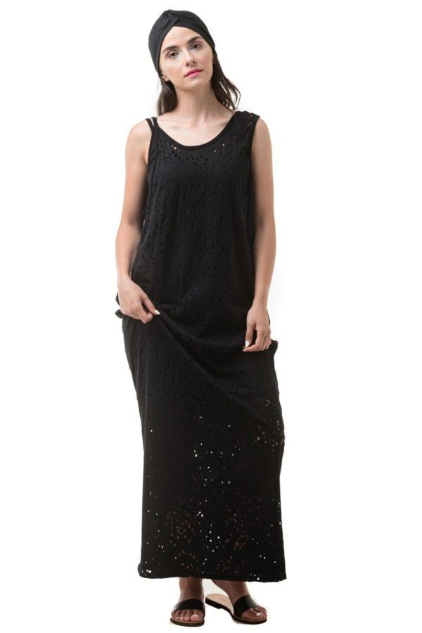 Μαύρο Τρυπητό Φόρεμα Μακρύ Με Τσέπες & Ανοιχτή Πλάτη