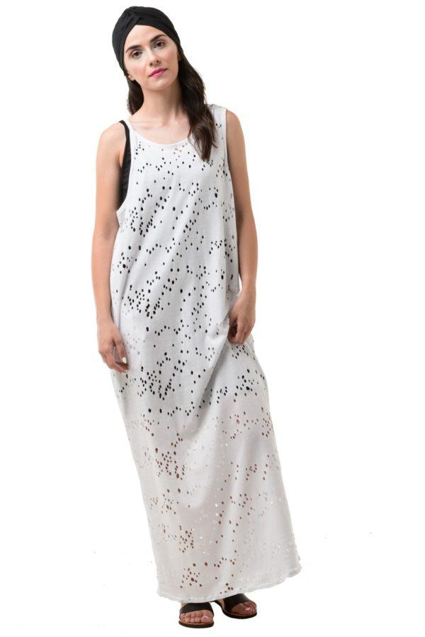 Άσπρο Τρυπητό Φόρεμα Μακρύ Με Τσέπες & Ανοιχτή Πλάτη