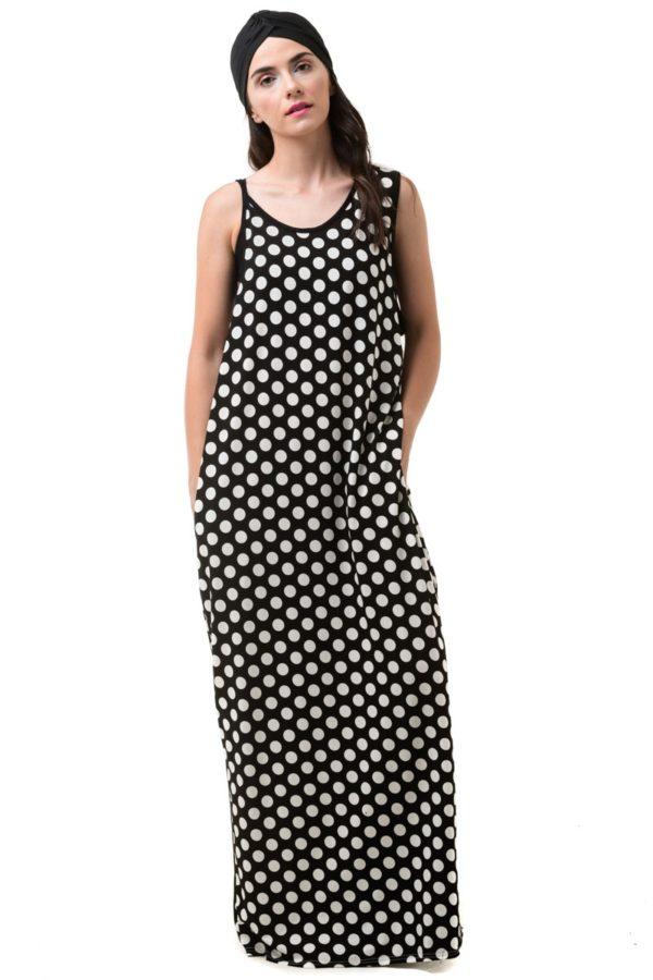 Πουά Φόρεμα Μακρύ Με Τσέπες & Ανοιχτή Πλάτη