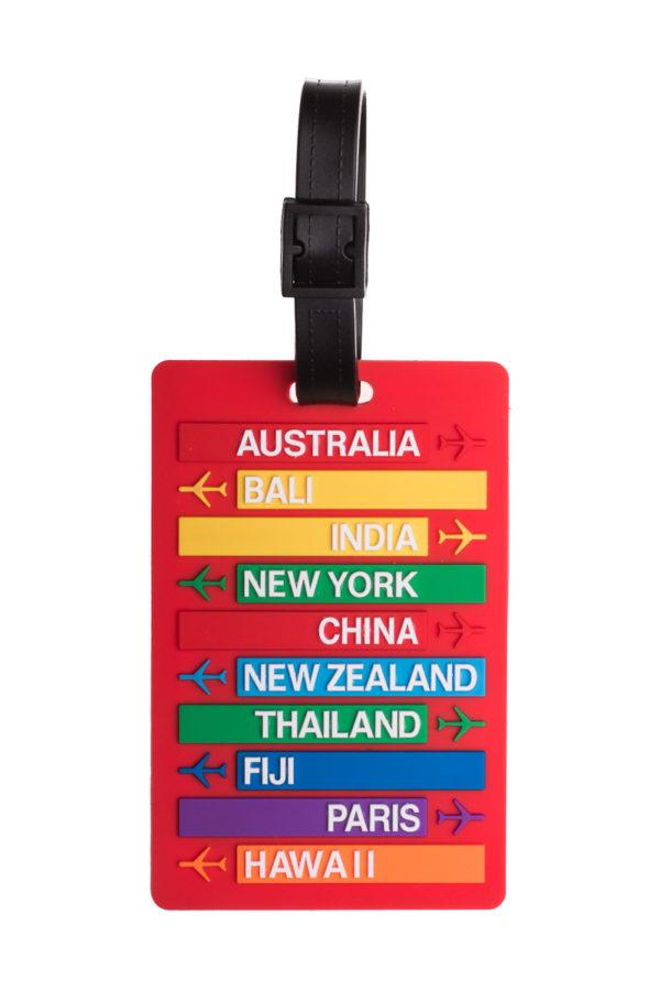 Ετικέτα Βαλίτσας Κόκκινη Destinations Luggage Tag