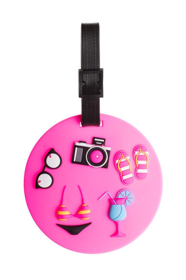 Ετικέτα Βαλίτσας Ροζ Διακοπές Round Luggage Tag