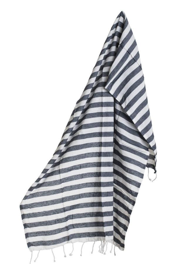 Πετσέτα Pestemal Μπλε Ριγέ με Κρόσια
