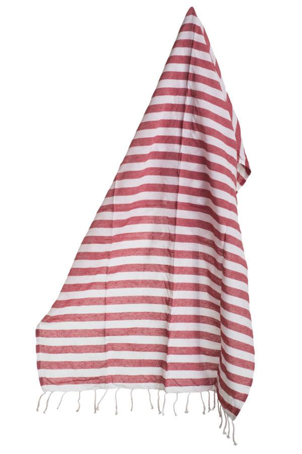 Πετσέτα Pestemal Κόκκινη Ριγέ με Κρόσια
