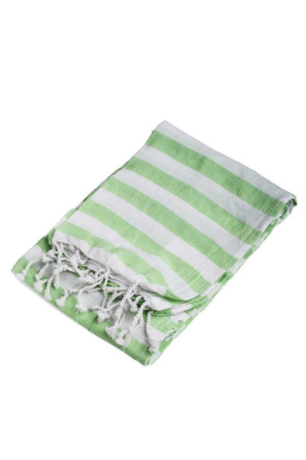Πετσέτα Pestemal Πράσινη Ριγέ με Κρόσια