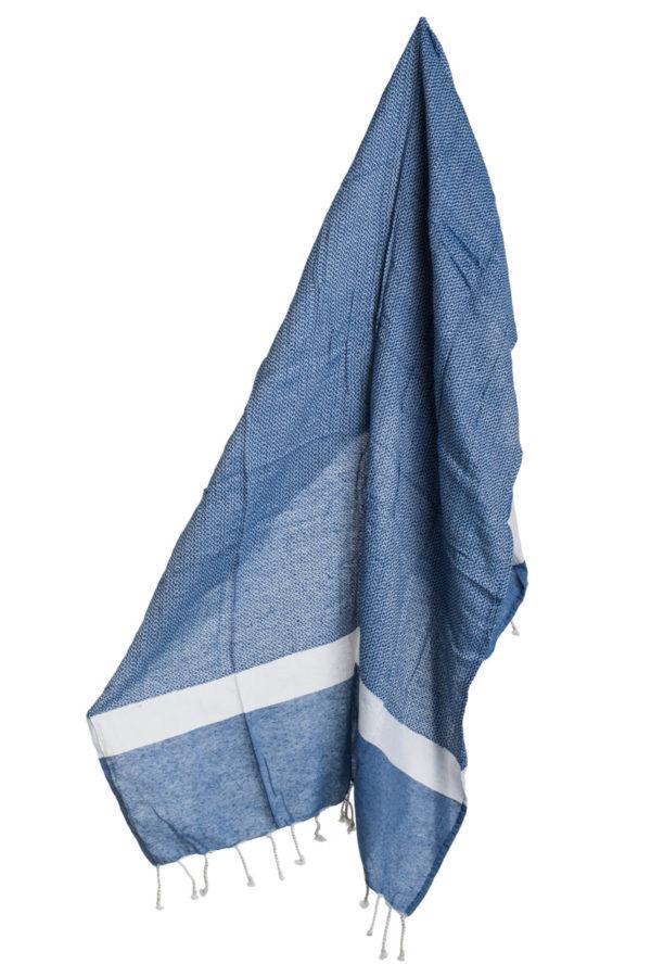 Πετσέτα Ριχτάρι Θαλάσσης Pestemal Μπλε με Κρόσια