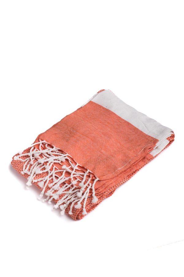 Πετσέτα Ριχτάρι Θαλάσσης Pestemal Πορτοκαλί με Κρόσια