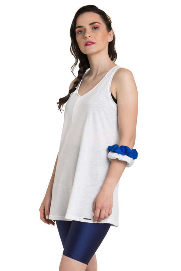 Άσπρη Μπλούζα με Αθλητική Πλάτη