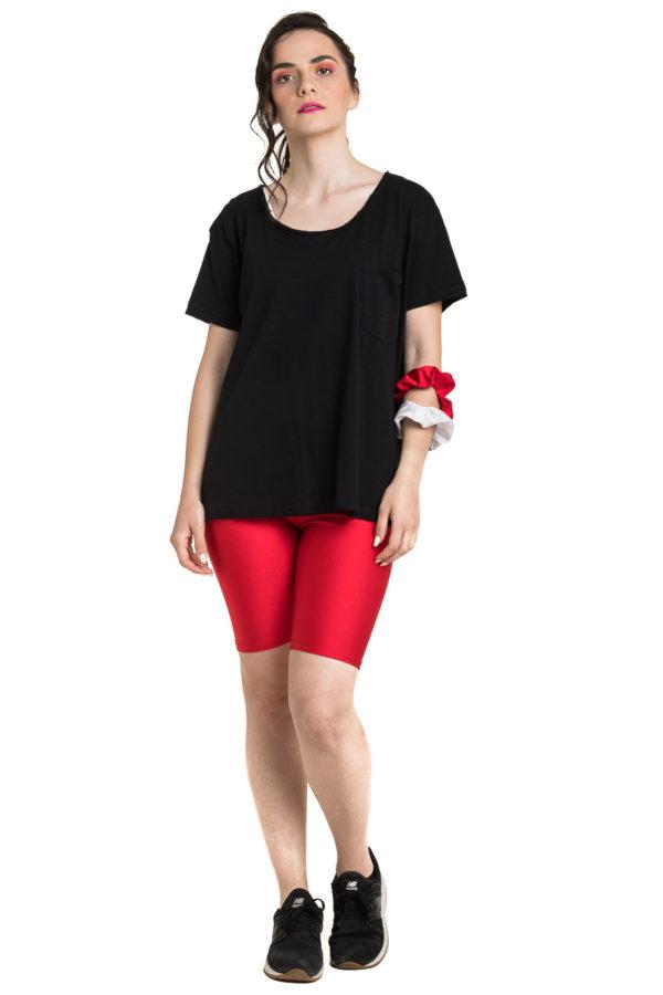 Μαύρη Μπλούζα T-Shirt με Χαμόγελο & Τσέπη