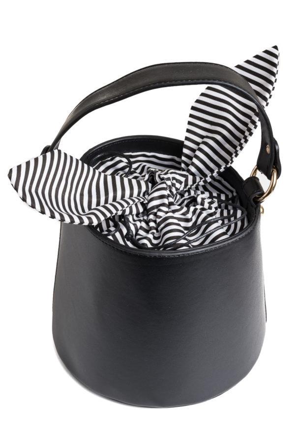 Μαύρη Τσάντα Χιαστί Πουγκί Bucket Bag