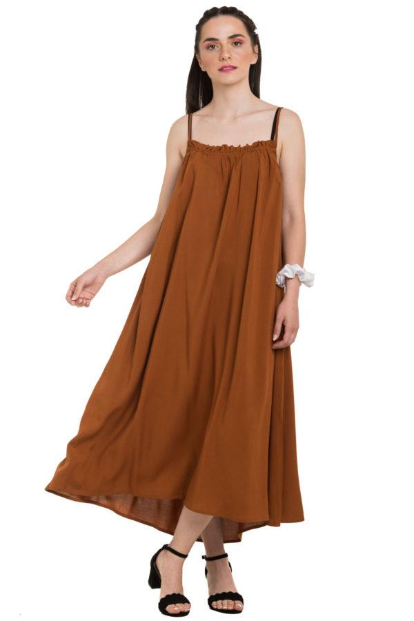 Κανελί Τιραντέ Φόρεμα Καλοκαιρινό