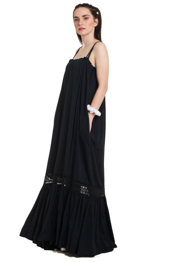 Μπλε Τιραντέ Φόρεμα Maxi με Δαντέλα