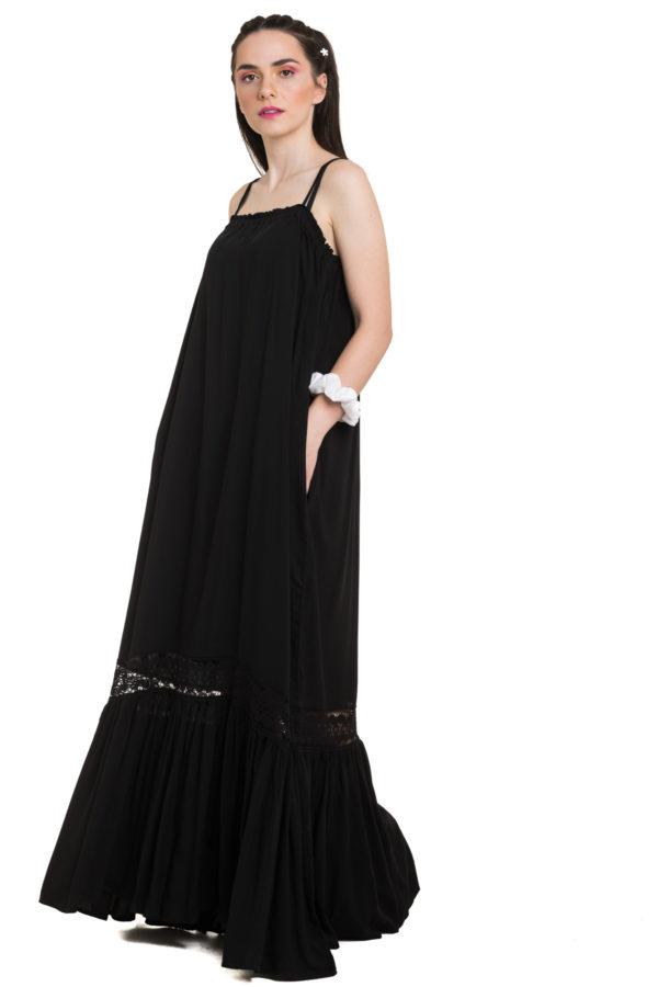 Μαύρο Τιραντέ Φόρεμα Maxi με Δαντέλα
