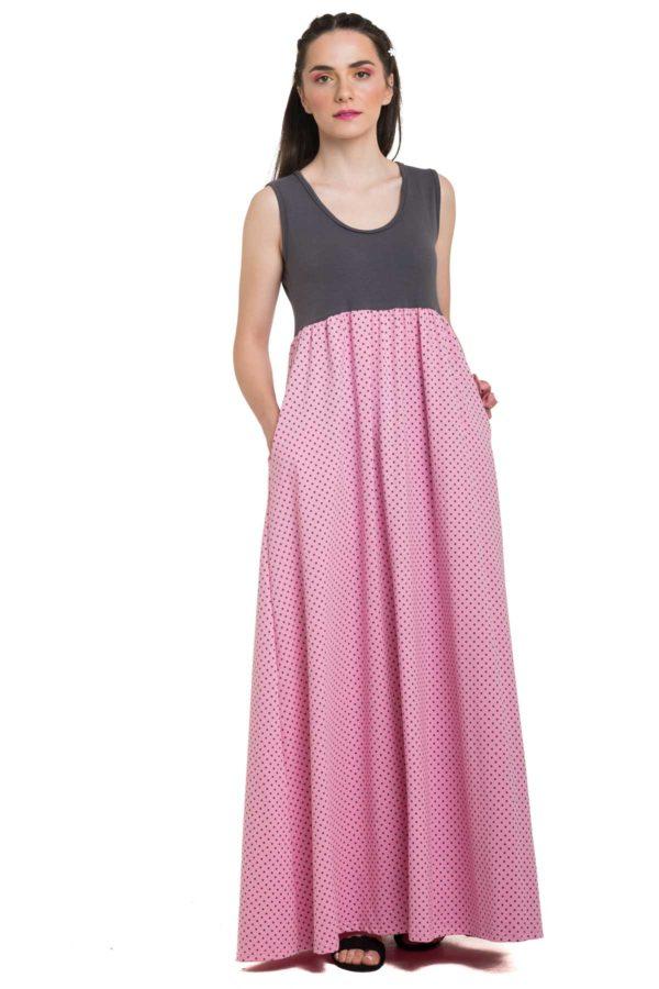 Ροζ Πουά Μακρύ Φόρεμα Με Γκρι Μπούστο