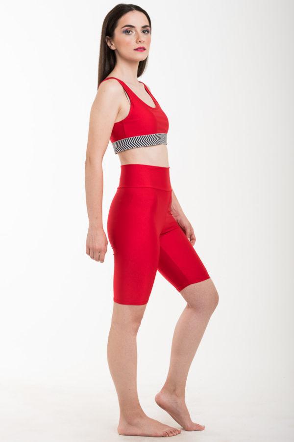 Κόκκινο Αθλητικό Μπουστάκι Λύκρα με Λάστιχο