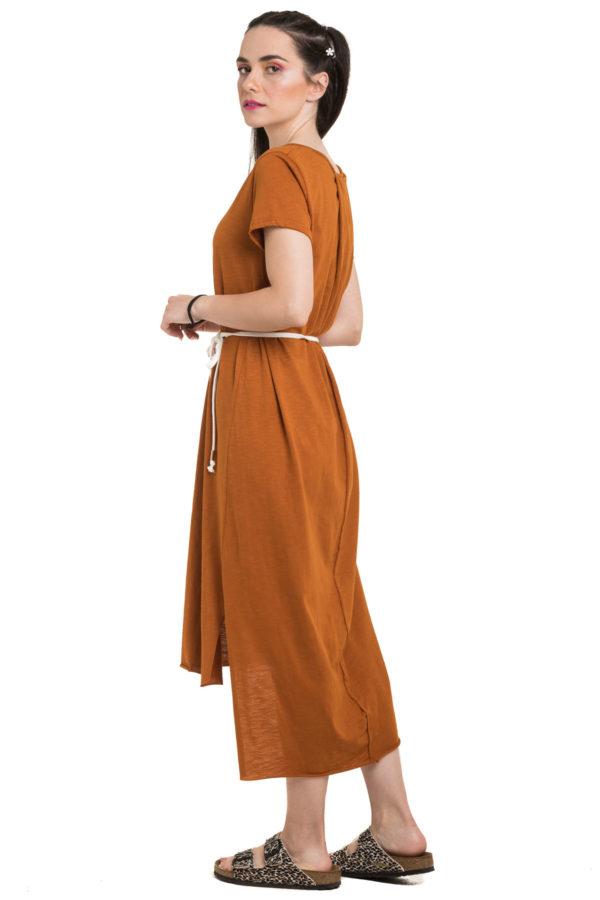 Ασύμμετρο Φόρεμα Ώχρα με Ζώνη