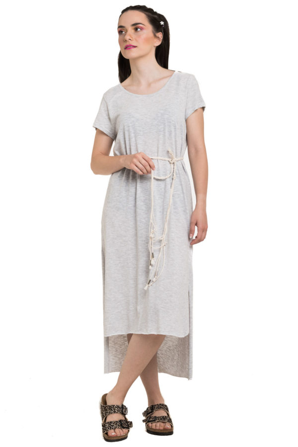 Ασύμμετρο Φόρεμα Γκρι με Ζώνη