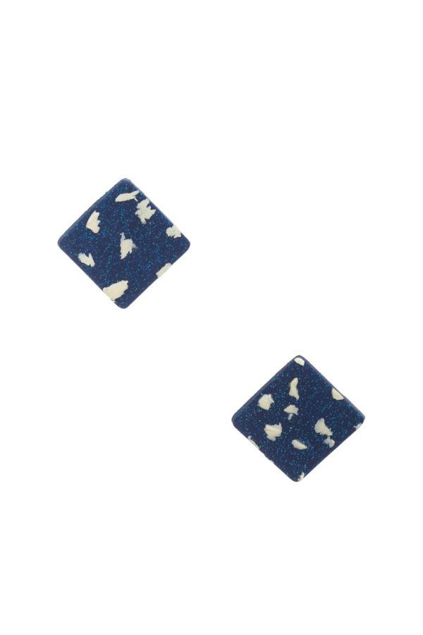 Καρφωτά Σκουλαρίκια Μπλε Άσπρο Μωσαϊκό Τετράγωνα